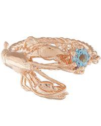 Alex Monroe - Pink Rose Gold-plated Lobster Aquamarine Ring - Lyst