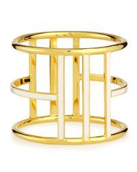 Nest   Metallic White Enamel Gold-plated Bangle   Lyst