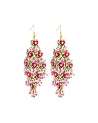 Chamak by Priya Kakkar | Pink Diamond-shape Tiered Earrings | Lyst