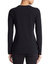 Lord & Taylor | Black Petite Stretch-cotton Crewneck Tee | Lyst