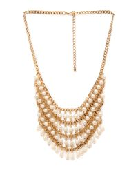 Forever 21 | Metallic Faux Pearl Bib Necklace | Lyst