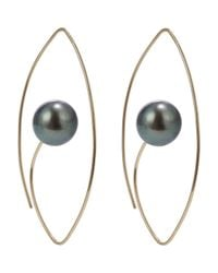 Hirotaka | Black Women's Tahitian Pearl & Gold Floating Oval Earrings | Lyst