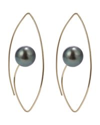 Hirotaka | Metallic Tahitian Pearl & Gold Floating Oval Earrings Size Os | Lyst