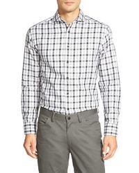 Vince Camuto | Blue Slim Fit Windowpane Sport Shirt for Men | Lyst