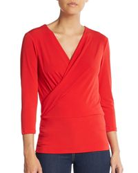 Ellen Tracy | Red Pleated Surplice Top | Lyst