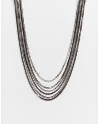 Lipsy | Metallic Fleur East By Multirow Box Chain Necklace | Lyst