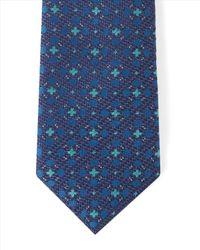 Jaeger - Blue Silk Wool Oval Dot Tie for Men - Lyst