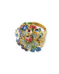 Kenneth Jay Lane - Blue Multi-color Flower Ring - Lyst
