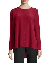 Eileen Fisher | Red Long-sleeve Crepe De Chine Blouse | Lyst