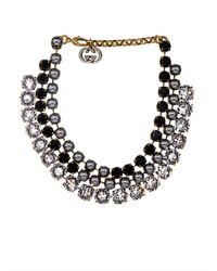 Gucci | Gray Crystal and Fauxpearl Tiered Necklace | Lyst