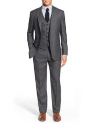 Hart Schaffner Marx - Gray 'new York' Classic Fit Solid Wool Three-piece Suit for Men - Lyst