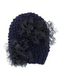 Gigi Burris Millinery - Blue Bloom Knit Beanie Hat With Organza Flowers - Lyst