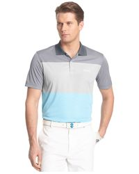 Izod - Gray Striped Golf Polo for Men - Lyst
