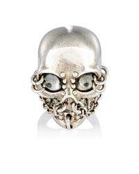 Alexander McQueen - Metallic Skull & Chain Ring for Men - Lyst