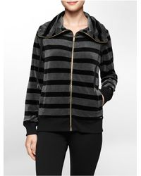 Calvin Klein | Black White Label Striped Funnel Neck Velour Jacket | Lyst