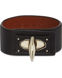 Givenchy | Black Shark Lock Leather Cuff Bracelet | Lyst