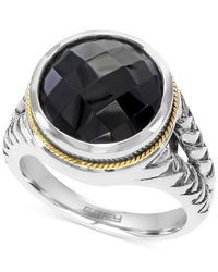 Effy Collection | Black Effy Onyx (5-7/8 Ct. T.w.) Braid Ring In Sterling Silver And 18k Gold | Lyst