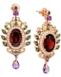 Le Vian | ® Fiery Reds™ Raspberry Rhodolite Garnet (10 Ct. T.w.) And Multistone (3-5/8 Ct. T.w.) Drop Earrings In 14k Rose Gold | Lyst