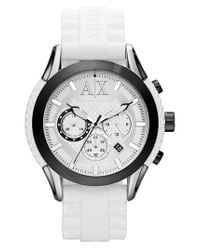 Armani Exchange - White Round Silicone Strap Watch for Men - Lyst