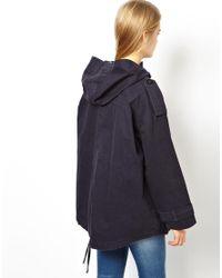ASOS - Blue Oversized Drape Parka - Lyst