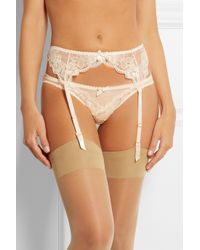 L'Agent by Agent Provocateur - Natural Mirabel Lace And Swiss-dot Stretch-tulle Suspender Belt - Lyst