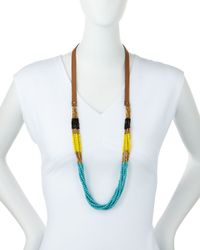 Panacea | Blue Colorblock Multi-strand Beaded Necklace | Lyst