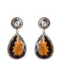 Kastur Jewels | Metallic Smokey Quartz & White Sapphire Earrings | Lyst