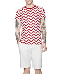 French Connection - Red Pattern Crew Neck Regular Fit T-shirt for Men - Lyst