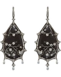 Annoushka | Black Alter Ego Rhodium-plated White-gold, Diamond And Ebony Tear Drop Earrings - For Women | Lyst