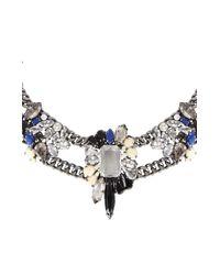 BCBGMAXAZRIA | Blue Multi-Color Stone Cluster Necklace | Lyst
