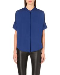 MICHAEL Michael Kors - Blue Short-sleeved Silk Blouse - Lyst