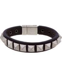 DSquared² | Black Leather Studded Bracelet for Men | Lyst