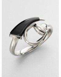 Gucci - Metallic Horsebit Sterling Silver Bangle Bracelet - Lyst