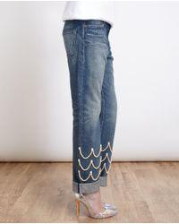Tu Es Mon Tresor | Blue Pearl Embellished Boyfriend Jeans | Lyst