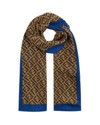 00f9ce979b9 Fendi Zucca Logo Silk Scarf in Blue - Lyst