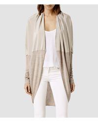 AllSaints | Gray Silk Itat Shrug | Lyst