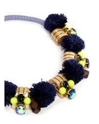 J.Crew | Blue Metal Sphere Pom-pom Necklace | Lyst