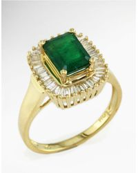 Effy | Green Brasilica Emerald And Diamond Ring In 14 Kt. Yellow Gold | Lyst