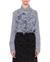 Jil Sander - Blue Striped Poplin Button-down Shirt - Lyst