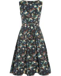 Saloni | Blue Lauren Printed Cotton-Blend Cloqué Dress | Lyst