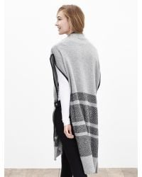 Banana Republic - Gray Heritage Blanket-stripe Sweater Cape - Lyst