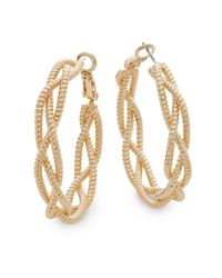 "Saks Fifth Avenue | Metallic Twisted Triple-strand Goldtone Hoop Earrings/1.5"" | Lyst"