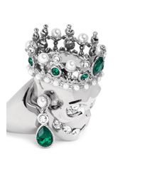 Alexander McQueen | Green Royal Skull Ring | Lyst