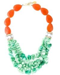 Katerina Psoma - Green Multi Bead Row Necklace - Lyst