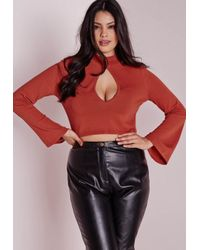 Missguided | Brown Plus Size Peep Hole Crop Jumper Rust | Lyst