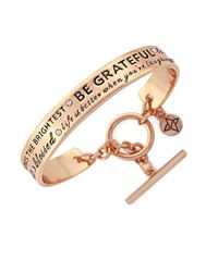 BCBGeneration | Pink Etched Rose Goltone Cuff Bracelet | Lyst
