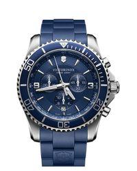 Victorinox - Blue 'maverick' Chronograph Rubber Strap Watch for Men - Lyst