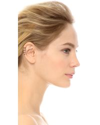 House of Harlow 1960 - Metallic Engraved 4 Ring Ear Cuff Rose Gold - Lyst