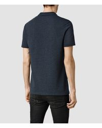 AllSaints | Blue Auden Baltis Polo for Men | Lyst