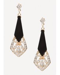 Bebe - Black Deco Metal Earrings - Lyst